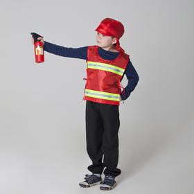 """Костюм детский """"Пожарный"""" со светоотражающими полосами: жилет, головной убор, рост 98-128 см"""