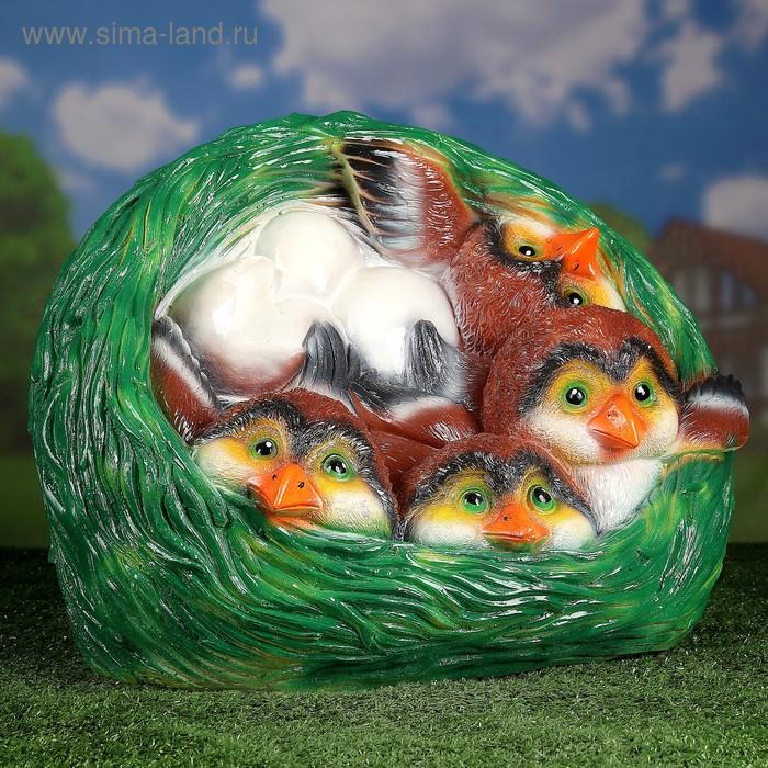 """Садовая фигура """"Гнездо"""", зелёная, с коричневыми птенчиками, 50 х 37 х 38 см"""