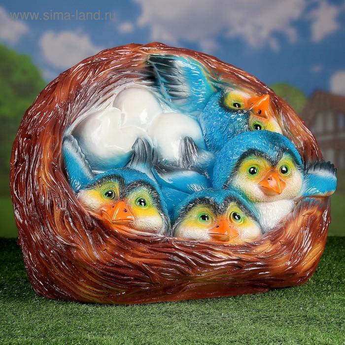 """Садовая фигура """"Гнездо"""", коричневая, с синими птенчиками, 50 х 38 х 37 см"""