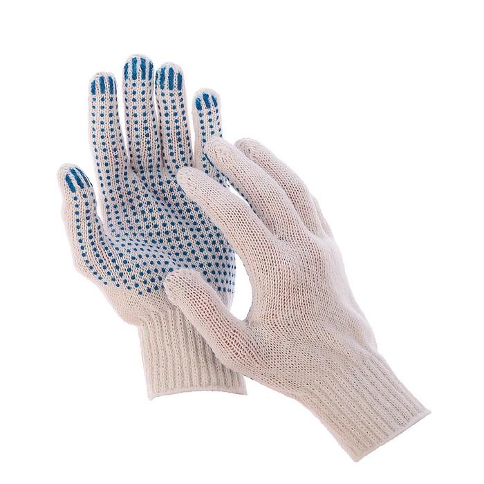 Перчатки, х/б, вязка 7 класс, 3 нити, размер 9, с ПВХ точками, белые