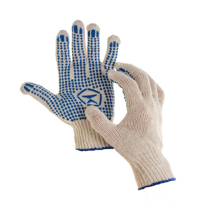 Перчатки, х/б, вязка 7 класс, 5 нитей, размер 9, с ПВХ точками, белые