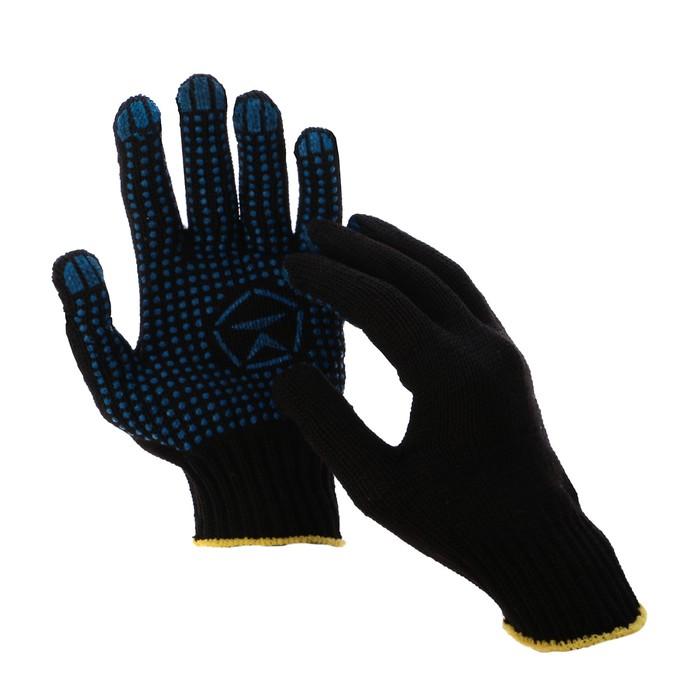 Перчатки, х/б, вязка 7 класс, 5 нитей, размер 9, с ПВХ точками, чёрные