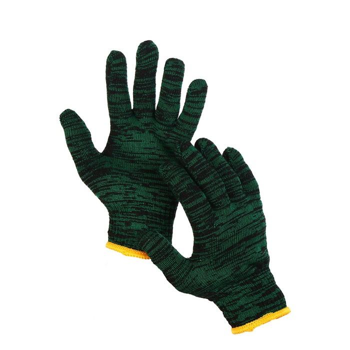 Перчатки, х/б, вязка 10 класс, 4 нити, размер 9, зелёные, «Двойные»