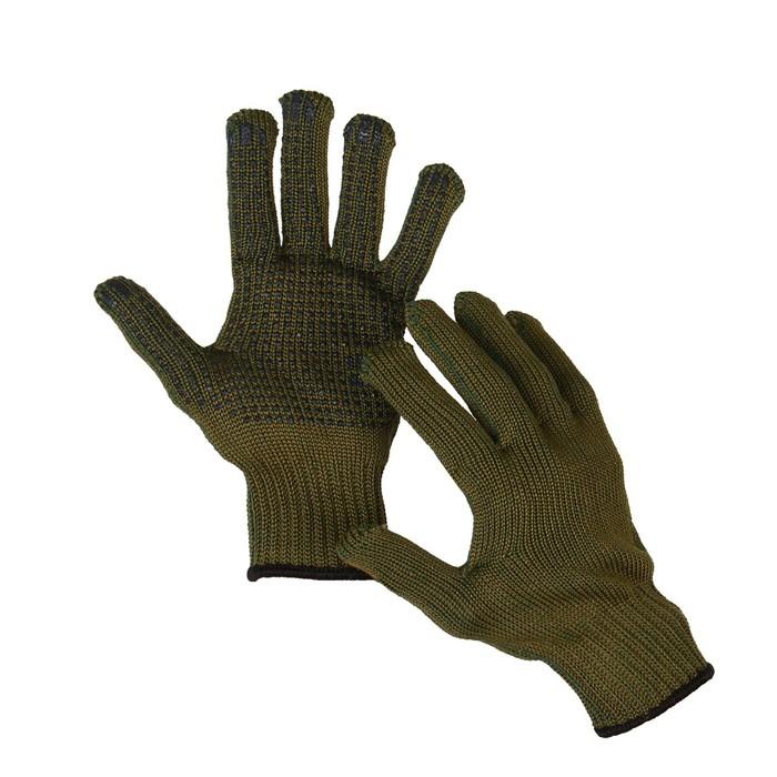Перчатки, х/б, вязка 10 класс, 5 нитей, 3-слойные, размер 10, с ПВХ протектором, «Олива»