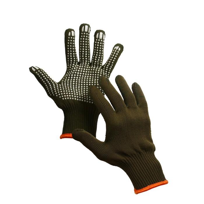 Перчатки, х/б, вязка 7 класс, 5 нитей, 3-слойные, размер 10, с ПВХ протектором, «Олива»