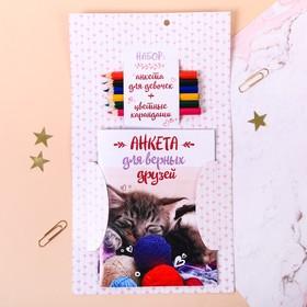 """Набор """"Котёнок и щенок"""": анкета для девочек, А6, 32 страницы и карандаши, 6 шт."""