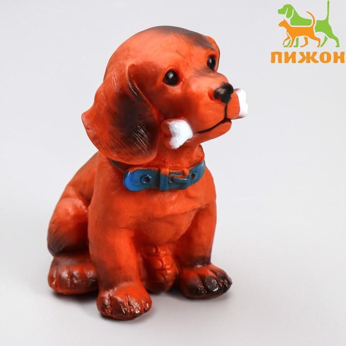 """Игрушка пищащая большая """"Пес с косточкой"""" для собак, 15 см"""