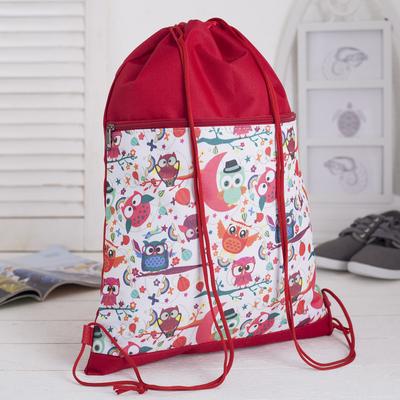 """Сумка-мешок для обуви """"Совы"""", наружный карман на молнии, цвет красный/белый"""