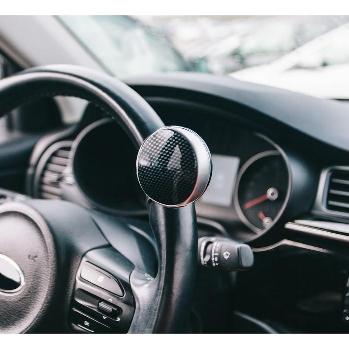 Ручка на руль, металл крепление, серебро-карбон