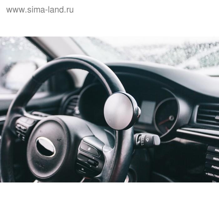 Ручка на руль, металл крепление, черный - серебро