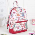 Рюкзак детский, отдел на молнии, наружный карман, цвет красный/белый