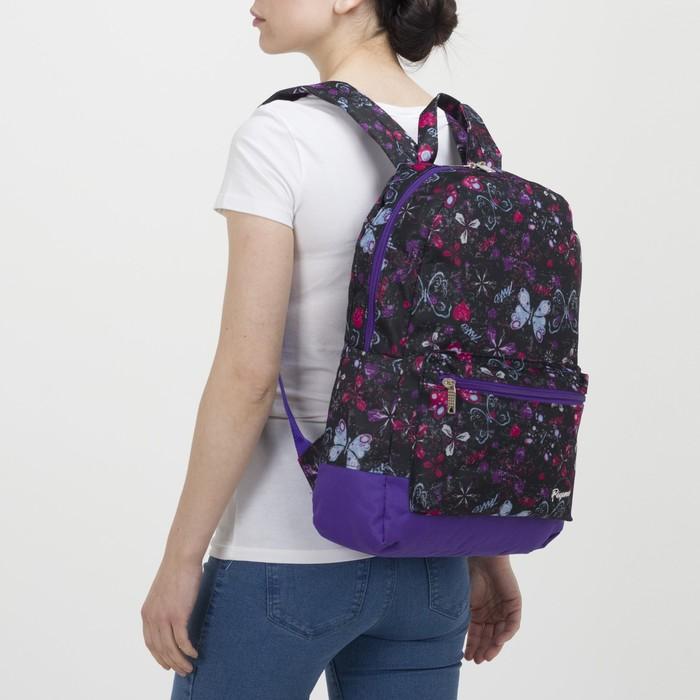Рюкзак молодёжный, отдел на молнии, наружный карман, цвет чёрный/сиреневый - фото 416997850