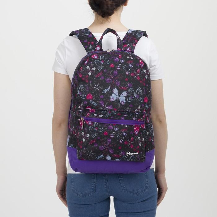 Рюкзак молодёжный, отдел на молнии, наружный карман, цвет чёрный/сиреневый - фото 416997851