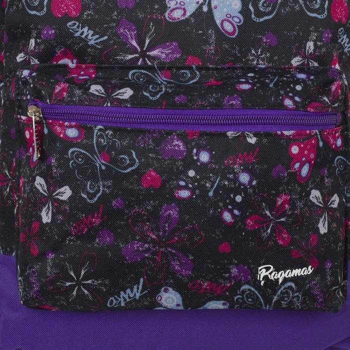 Рюкзак молодёжный, отдел на молнии, наружный карман, цвет чёрный/сиреневый - фото 416997852