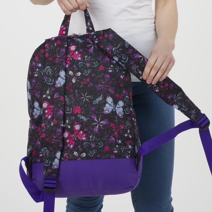Рюкзак молодёжный, отдел на молнии, наружный карман, цвет чёрный/сиреневый - фото 416997853