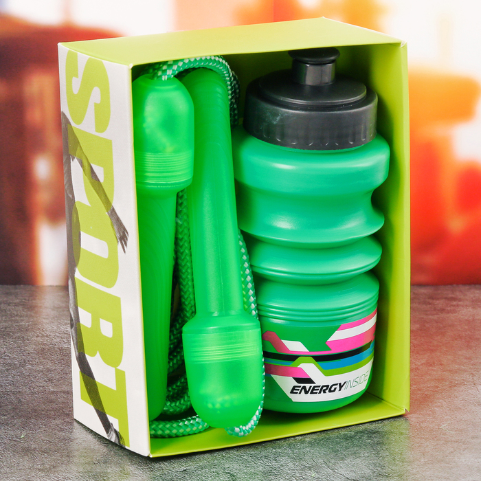 """Набор """"Energy inside"""", бутылка для воды 450 мл, скакалка 280 см"""