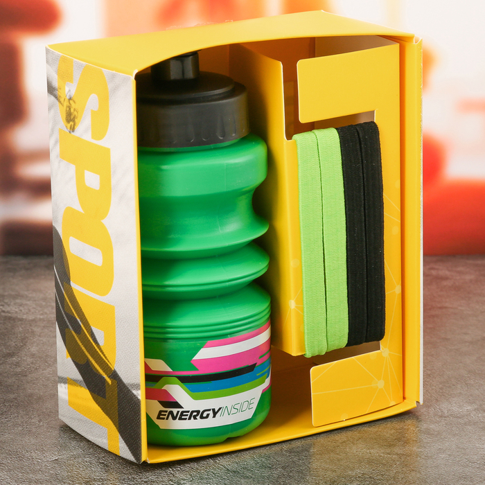 "Набор ""Energy inside"", бутылка для воды 450 мл, повязка для волос"