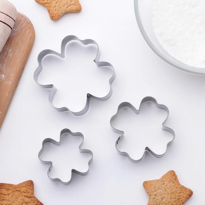 """Набор форм для вырезания печенья 6,5x6,5 см """"Клевер"""", 3 шт - фото 157031117"""