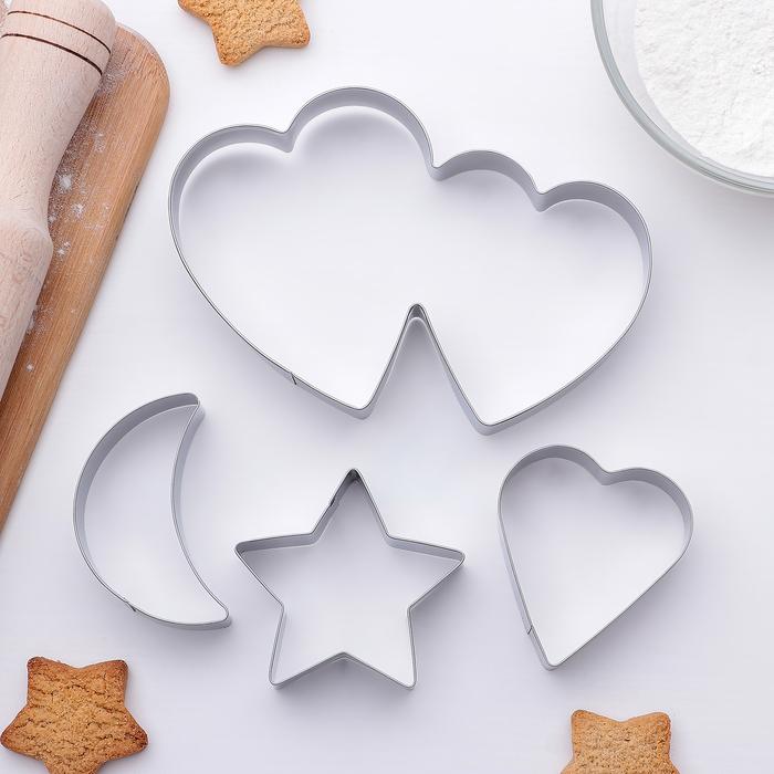 """Набор форм для вырезания печенья """"Двойное сердце,звезда,месяц"""" 14x14 см, 4 шт - фото 141427923"""