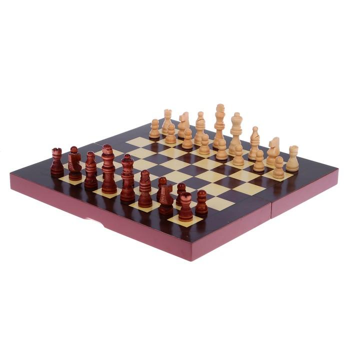 """Настольная игра 3 в 1 """"Сулида"""": нарды, шахматы, шашки, доска и фигуры дерево 34х34 см"""