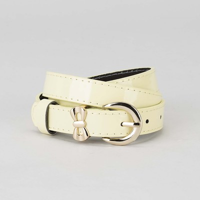 Women's belt smooth buckle and a collar of gold, width - 2.2 cm, color yellow