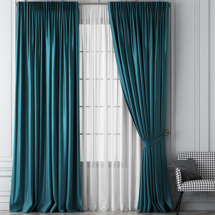 Комплект штор «Шанти», размер 170 х 270 см, бирюзовый - фото 914367
