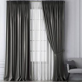 Комплект штор «Шанти», размер 170 х 270 см, серый