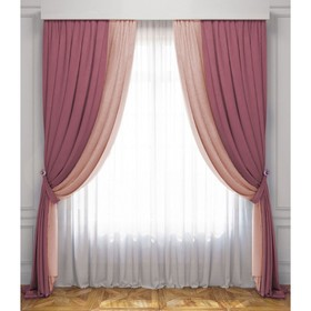 Комплект штор «Латур», размер 170 х 270 см, розовый / светло - розовый