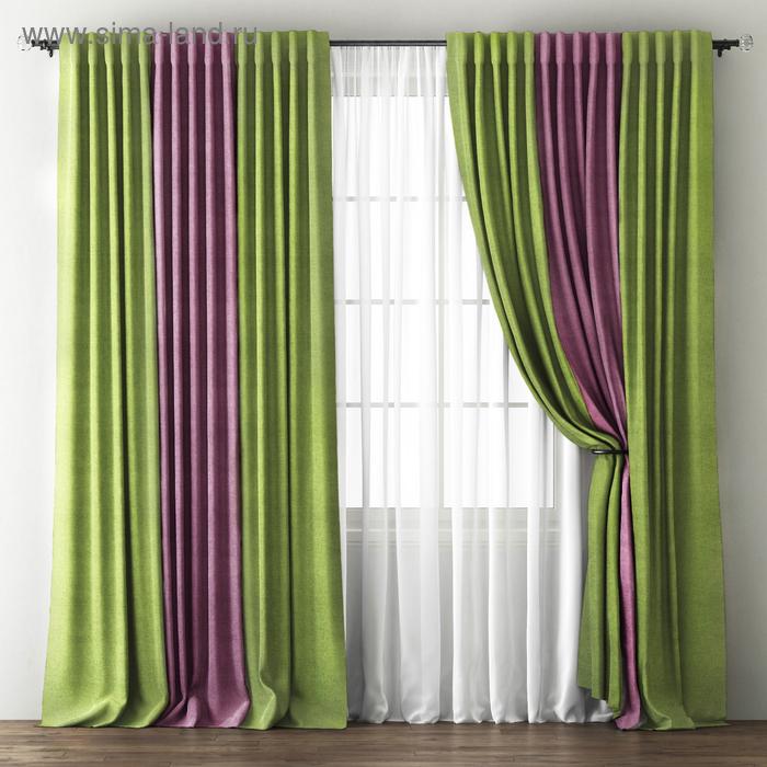 """Комплект штор """"Кирстен"""", размер 170х270 см, зелёный/фиолетовый"""