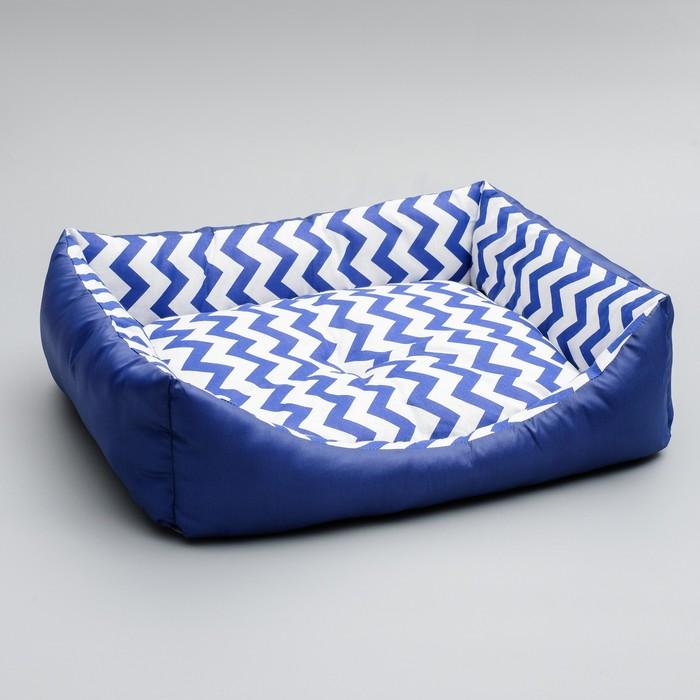 "Лежанка ""Зиг-заг"", 55 х 45 х 15 см, синяя"