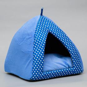 Домик-вигвам 'Нежность', 35 х 35 х 32 см, бязь/плюш, голубой Ош