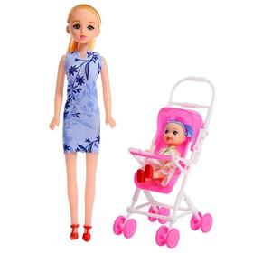 Кукла модель «Мама с дочкой» с коляской, МИКС
