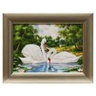 """Картина """"Белые лебеди"""" 21*16 см"""