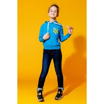 Толстовка для девочки, цвет голубой, рост 146 см