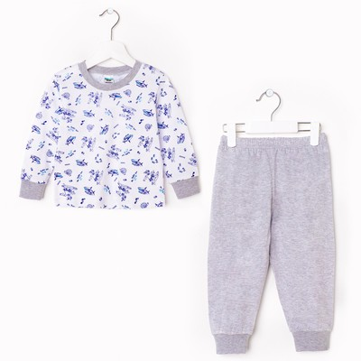 Пижама для мальчика, рост 92 см, цвет микс белый/синий
