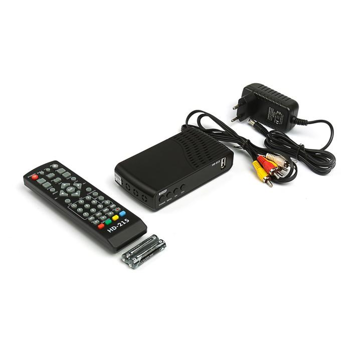 """Приставка для цифрового ТВ """"Эфир"""" HD-215, FullHD, DVB-T2, дисплей, HDMI, RCA, USB, черная"""