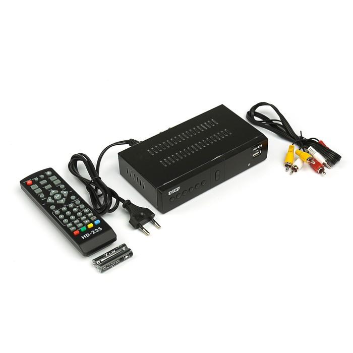 """Приставка для цифрового ТВ """"Эфир"""" HD-225, FullHD, DVB-T2, дисплей, HDMI, RCA, USB, черная"""