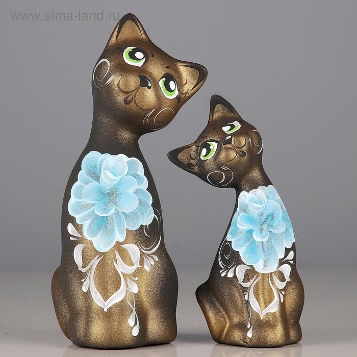 """Сувенир """"Love Коты"""" ушастые 6 × 7 × 17 см черные золото голубые цветы (набор 2 шт) 215"""
