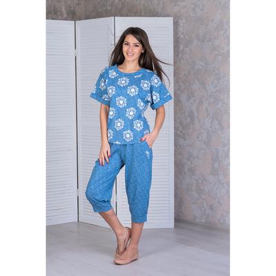 """Комплект женский (футболка, бриджи) """"Дэним 2""""  f1012 цвет  джинса, р-р 56"""