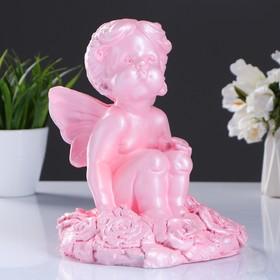 Фигура 'Девочка на розах' перламутр розовый 22х17см Ош