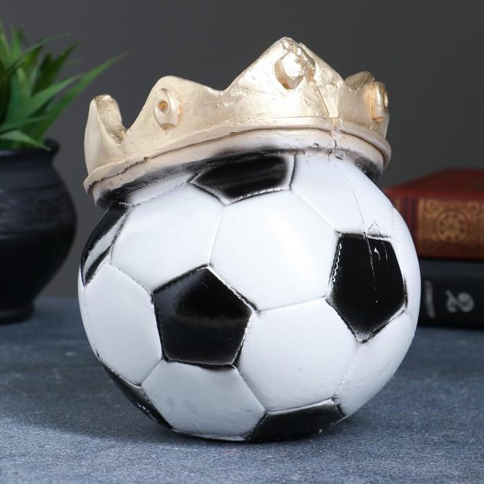 """Копилка """"Мяч с короной""""  чёрно-белый 19см"""