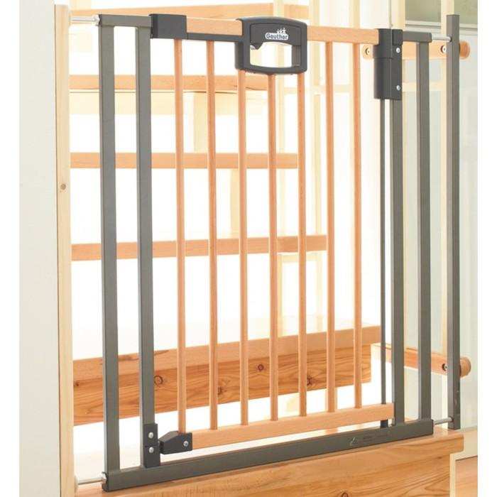 Ворота безопасности Geuther Easylock Wood 80,5-88,5 х 81,5 см, натуральный/серебро