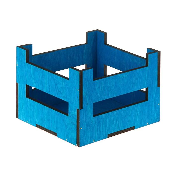 Ящик реечный, синий, 16 х 16 х 12 см