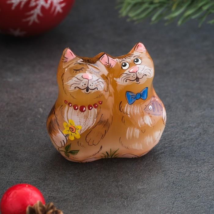Сувенир «Кот с кошкой», 8×4×7 см, селенит