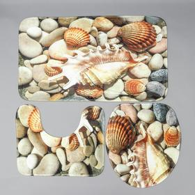 "Set of floor mats for bathroom and toilet ""Shell"" 3 PCs"