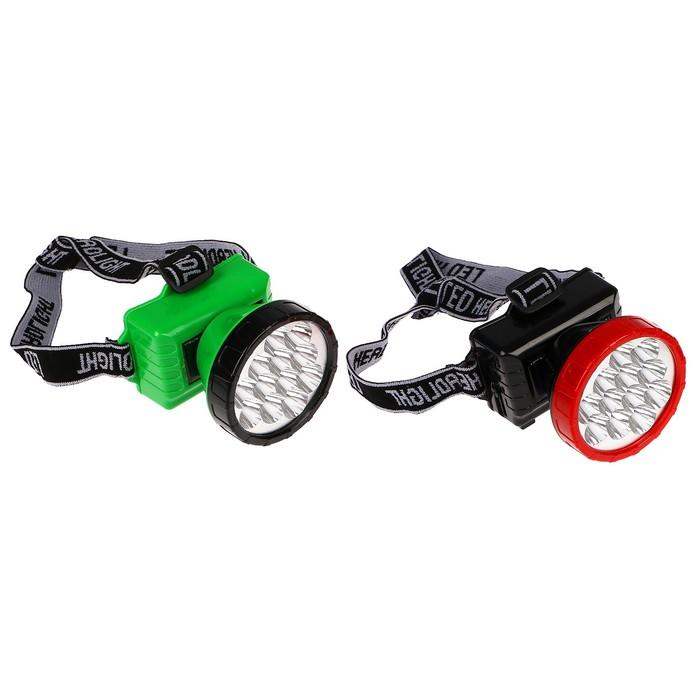 Фонарик налобный, 12 LED, 2 режима, солнечная батарея, ободок микс, 8.5х10 см