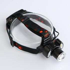 Flashlight headlamp rechargeable, 3 modes, T6 COB and ribbon, 200 LM, 7.5x8 cm