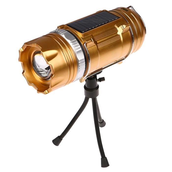 Фонарь кемпинговый, аккумуляторный, 220V, штатив в комплекте, USB, 7.5х20 см