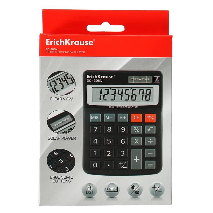 Калькулятор настольный 8-разрядный Erich Krause DC-308N - фото 447544263