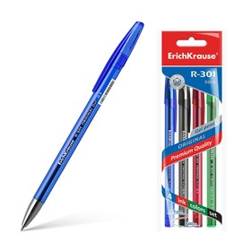 Набор ручек гелевых 4 цвета R-301 ORIGINAL Gel, узел 0.5 мм, чернила: синие, чёрные, красные, зелёные, длина линии письма 600 метров, европодвес